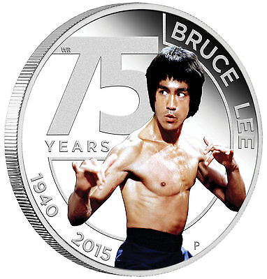 2015 The 75th Anniversary of Bruce Lee 1oz Silver Proof Coin Perth Mint COA Box!
