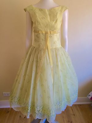 Original Vintage 40s 50s Pinup Dress Yellow Party Ball gown , Rockabilly Retro