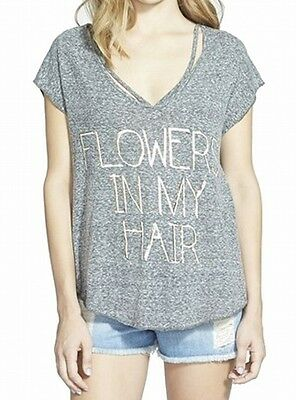 Coco + Jameson NEW Gray Womens Size Small S V-Neck Foil Graphic Tee T-Shirt 626
