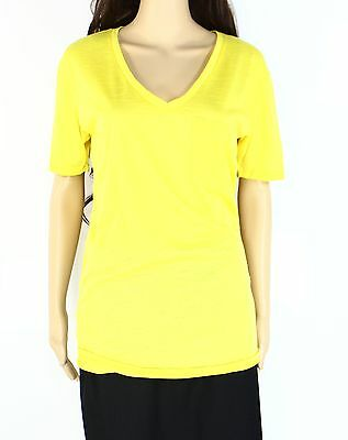 Go Couture NEW Yellow  Womens Size Small S Short Sleeve V-Neck Tee T-Shirt 408