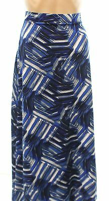 Kasper NEW Navy Blue Womens Size Medium M Stretch Print Maxi Skirt $69 281