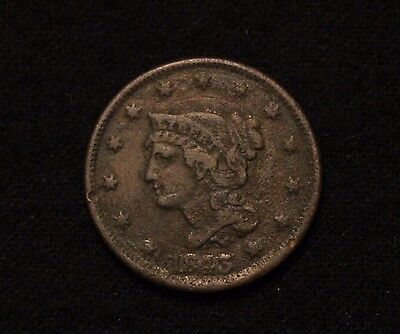 1843 1C Braided Hair Large Cent VF/XF DETAIL FROM OLD COLLECTION!