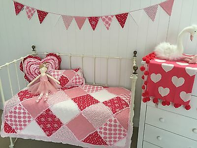 3 pc Girls Cot Quilt Heart & Rectangle Cushion Scarlet Crib Vintage Nursery  Set