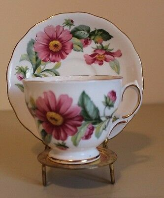 Royal Vale Tea Cup & Saucer, Pink Daisy, Fine Bone China, Made in England