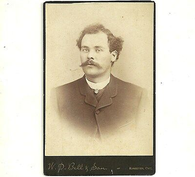 Vintage Cabinet Card Photo Man With Curly Hair Kingston Ontario Old Photograph