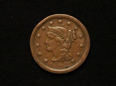 1852 1C Braided Hair Large Cent VF SOLID FROM OLD ORIGINAL COLLECTION! #2