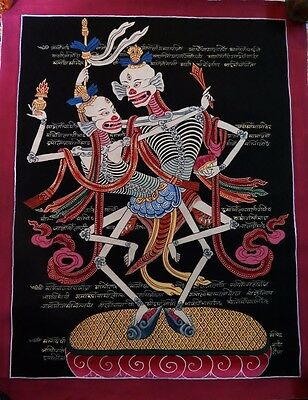 "17""x 13"" Shmashana Adhipati Chitipati Natural Color Thangka Hand Painting Nepal"