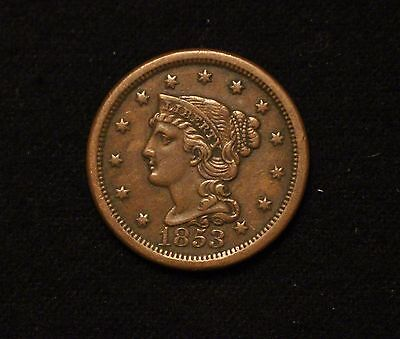 1853 1C Braided Hair Large Cent XF+ STRONG DETAIL FROM OLD COLLECTION! #2