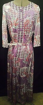Gorgeous Vintage Gallivant Melbourne Printed Dress Size 12 To 14