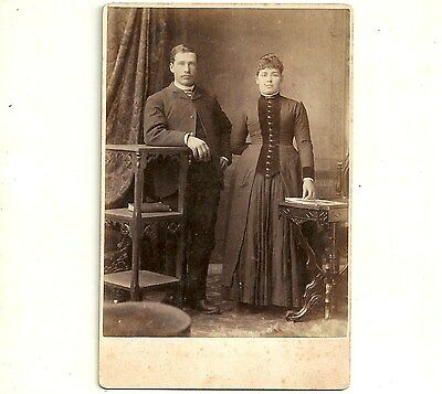 Antique Cabinet Card Photo Handsome Man And Wife Chatham Ontario Old Photograph
