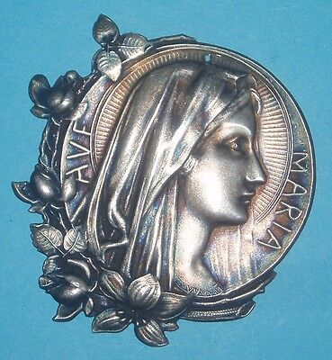 Antique Religious Catholic metal medal:Our Lady