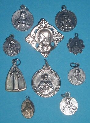 lot of 9 religious catholic charm medals medals+brooch:Sacred Heart of Jesus