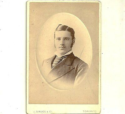 Antique Cabinet Card Photo Young Gentleman In Striped Tie Toronto Ontario