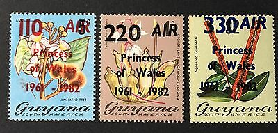 Guyana Stamps: Air Post Stamps with Overprints Sc.# C2, C3, and C4  MNH