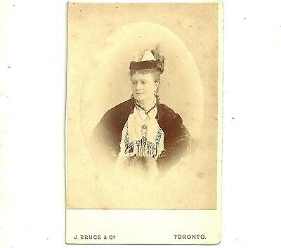 Antique Cabinet Card Photo Lady In Hat Toronto Ontario Victorian Photograph