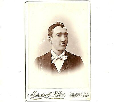 Vintage Cabinet Card Photo Man In White Tie Windsor Ontario Antique Photograph
