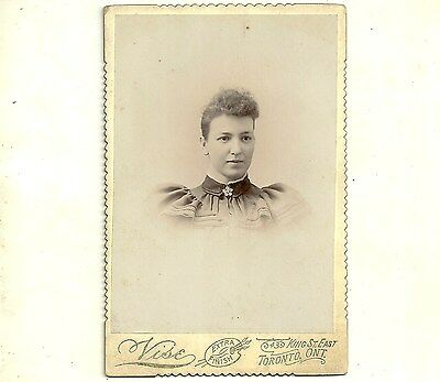 Vintage Cabinet Card Photo Woman With Curly Hair Toronto Ontario Old Photograph