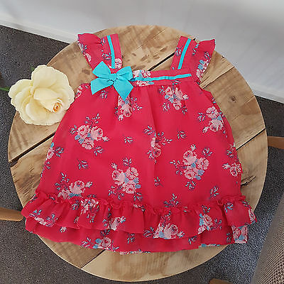 Baby Toddler Girls Pink Bow Party Christening Wedding Pumpkin Patch Dress Size 1