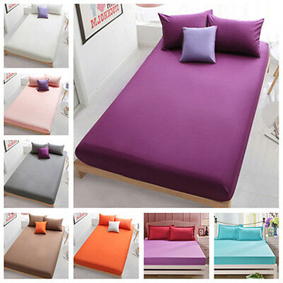 Solid Pillowcases Flat Fitted Sheet Bed Cotton Cover Coverlet Set 10 Colors New
