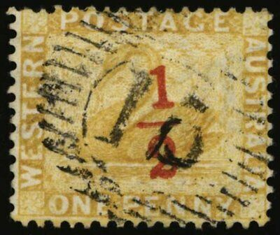 WESTERN AUSTRALIA: 1884 ½d (Red) on 2d Yellow-ochre Perf 14 SG 89 Sc 56 Used