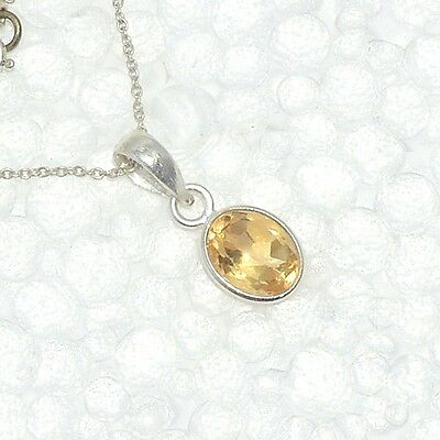 Natural 925 Sterling Silver CITRINE Gemstone Fine Jewelry Pendant Necklace