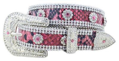 New Belt - Western - Pink & Black Leather with Clear Stone Trim - [Code 361] Gir