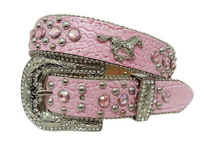 New Pink Leather Crocodile Pattern with Silver Running Horse Concho - 365- Girls