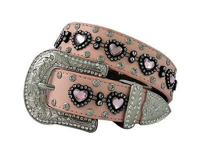 New Soft Pink Leather Belt With Love Hearts - 368 Girls Belts Brigalow