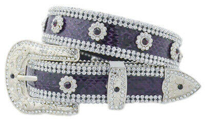 New Belt - Western - Purple Leather with Clear Stone Trim - [Code 369] Girls Bel