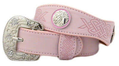 New Belt - Western - Pink Leather with Barrel Racer Conchos - [Code 370] Girls B