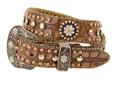New Brown Leather With Multi Colour Conchos and Rhinestones - 371 Girls Belts Br