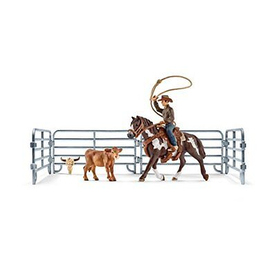 Schleich Figurine North America Bronc Team Roping Cowboy Set Bull Riding Playset