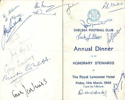 Chelsea FC : 1969 Stewards Annual Dinner Menu - autographed by 19