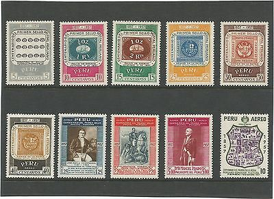 Peru 1957 Air.  Centenary of First Peruvian Postage Stamps  Unmounted Mint