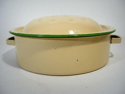 Vintage Rustic Enamel Cream And Green Kitchen Oven Roasting Dish / Pan- Original
