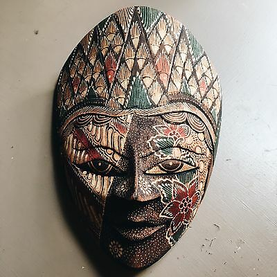 Indonesian Balinese Wooden Mask Ornament Decoration Wall Hanging