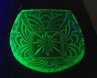 Green Uranium Glass Square 12cm  Jam Dish
