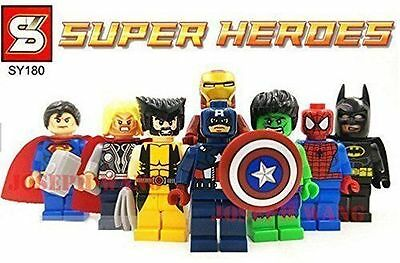 8 Marvel DC Super Hero Minifigures Mini Figures Batman Spider Man Fits LEGO