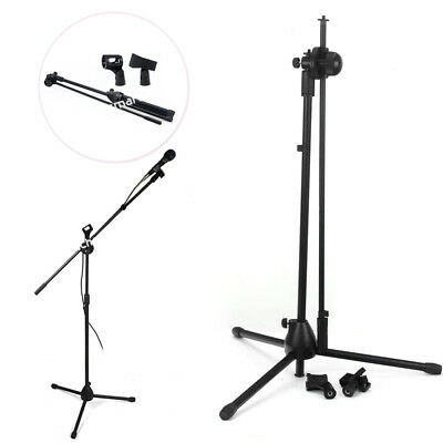 Adjustable Microphone Stand Mic Holder Tripod Two Clip Telescopic Boom Or shield
