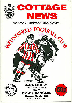 WEDNESFIELD v PAGET RANGERS 5th MAY 1994 STAFF'S SENIOR CUP FINAL