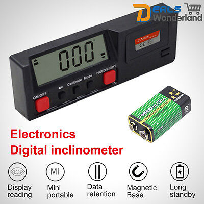 360° Digital LCD Angle Finder HandledTool Level Inclinometer w Magnetic Base