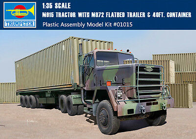 Trumpeter 01015 1/35 Scale M915 Truck M872 Flatbed Trailer with 40FT Container