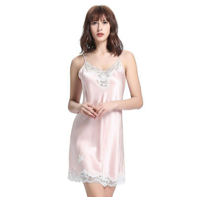 NEW LILYSILK 22 Momme Mid Length Silk Chemise With Lace Trim for Womme  Wedding 1b77503e8