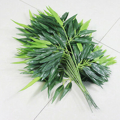 2X Artificial Green Bamboo Leaves Branch Vine Plastic Foliage Home Decor DIY New