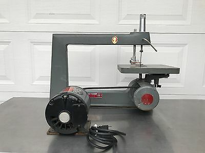 """Vintage Rockwell/Delta 40/100  16"""" Scroll Saw, Belt/Pulley With Electric Motor"""
