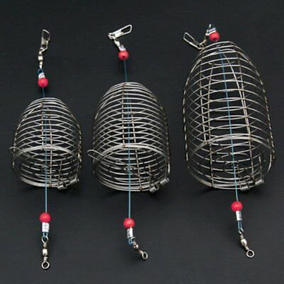 Stainless Steel Wire Fishing Lure Cage Fish Bait Trap Basket Tackle Creative KU