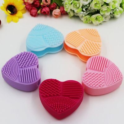 Silicone Makeup Brush Heart Cleaning Glove Washing Scrubber Tool Cleaners KU