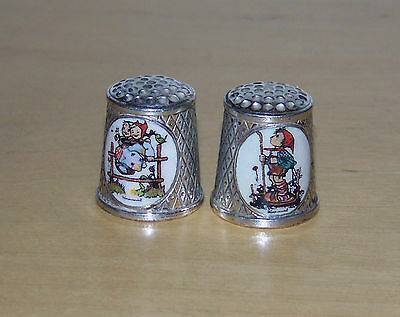 2 Limited Edition Hummel - Silver Plated -Thimbles From 1986 & 1987