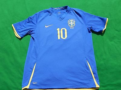Brazil 2008 Away Football Shirt Ronaldinho 10 ,mens Large