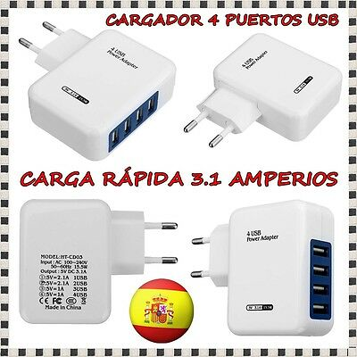 Cargador Pared Enchufe Casa 3.1A Doble 4 Puertos Usb Iphone Movil Samsung Htc 6